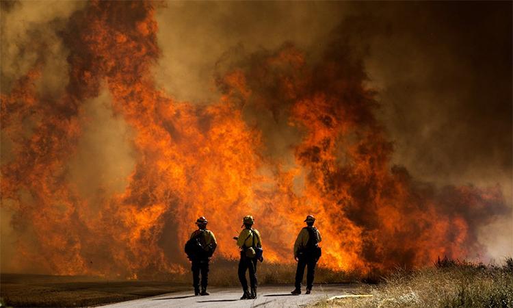 Lính cứu hỏa nhìn ngọn lửa của đám cháy Apple ở Thung lũng Cherry, bang Calirfornia, ngày 1/8.